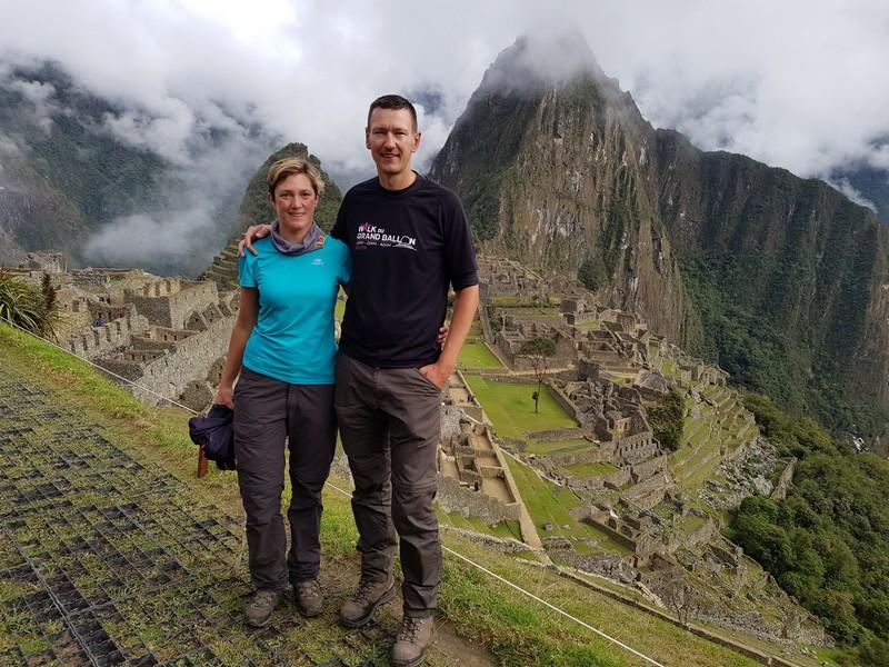 Posing in front of Machu Picchu