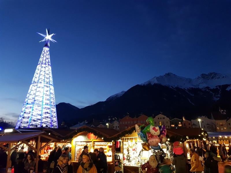 Christmas market with mountain sight