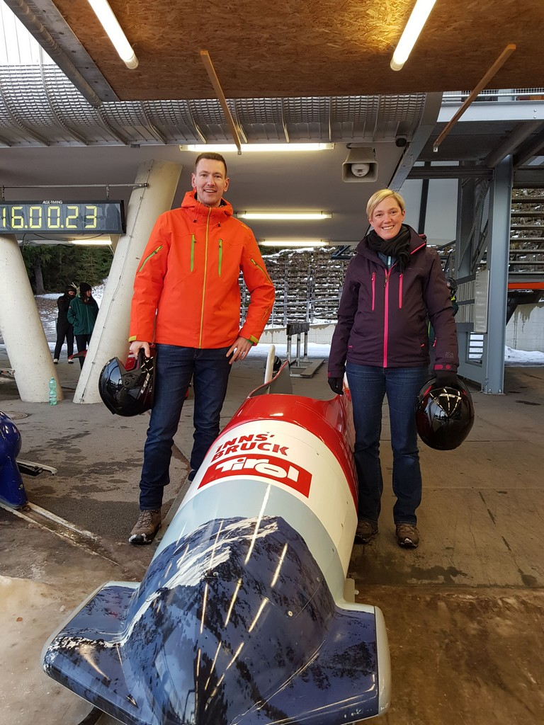 Posing with our bobsleigh
