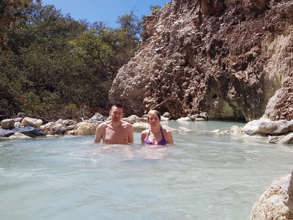 Enjoying a natural hot spring