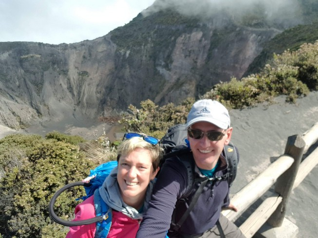 Posing in front of famous Volcan