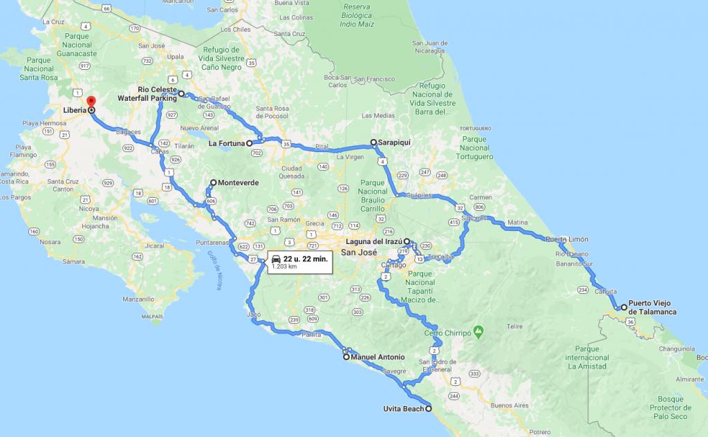 Costa Rica Road Trip map